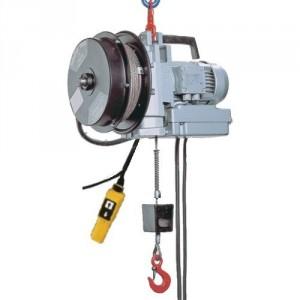 Palan électrique portable à câble passant MINIFOR - Avec ENROULEUR et télécommande FILAIRE - Capacité 100 kg et 300 kg