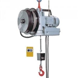 Palan électrique portable à câble passant MINIFOR - Avec ENROULEUR et télécommande RADIO - Capacité 100 kg et 300 kg