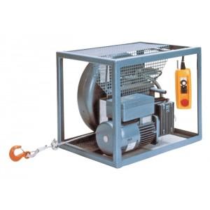 Treuil électrique à câble passant TIRAK X en CHÂSSIS avec ENROULEUR - Levage et traction dans 1 seul SENS - Capacité 0,3 t à 3 t