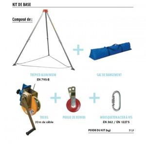 Kit de base avec trépied, treuil 20m, poulie et connecteur